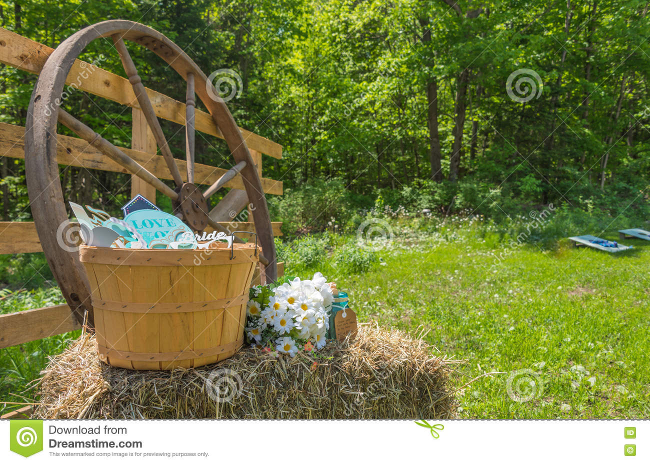 Country Wedding Decorations In A Back Yard Stock Image Image Of