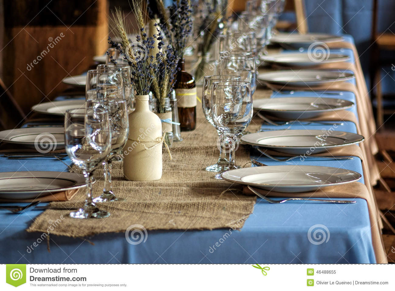 Country wedding guest table and serving sets stock image for Antique decoration pieces
