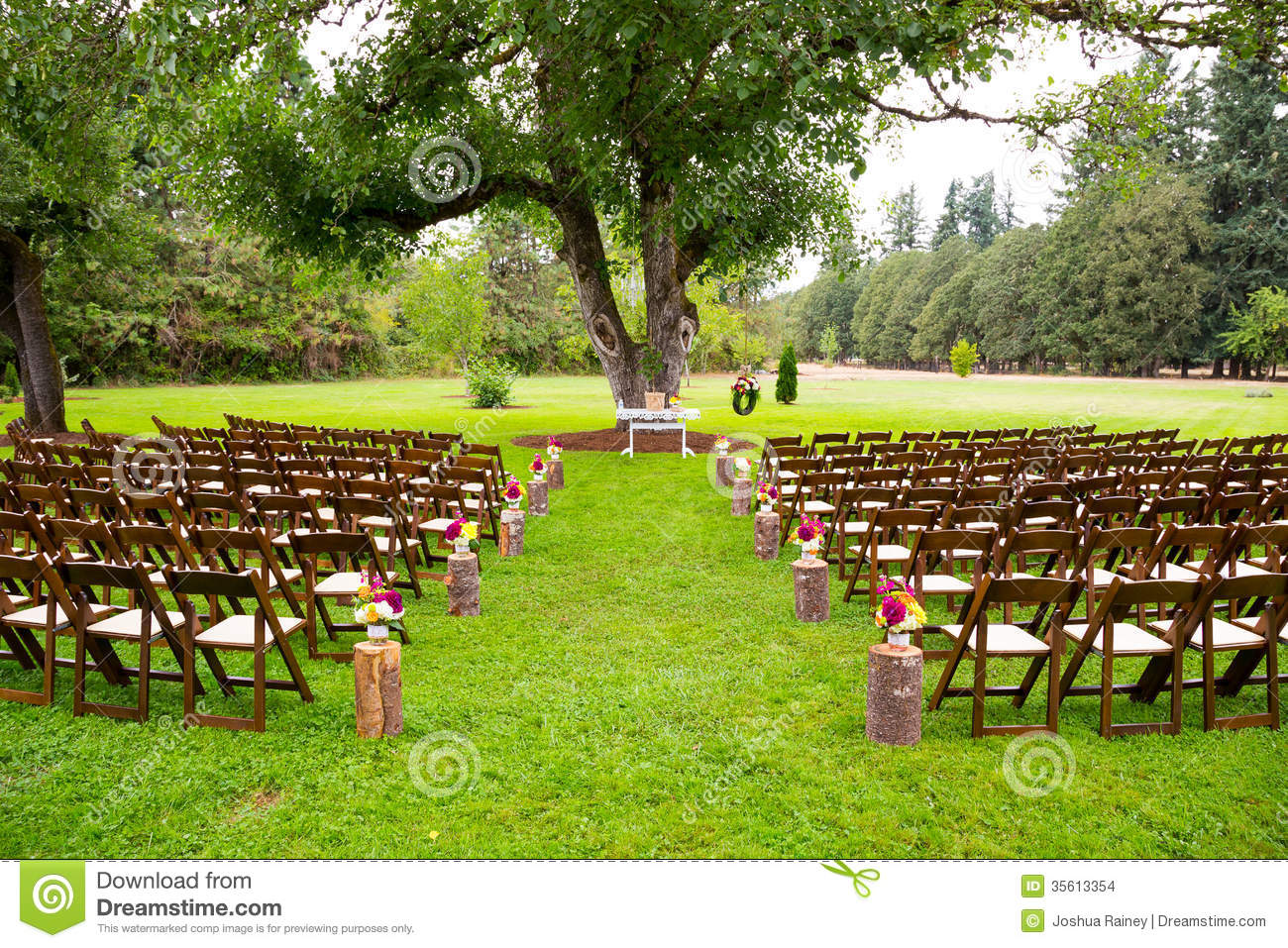 Country Wedding Venue Stock Photo Image Of Empty Chair 35613354