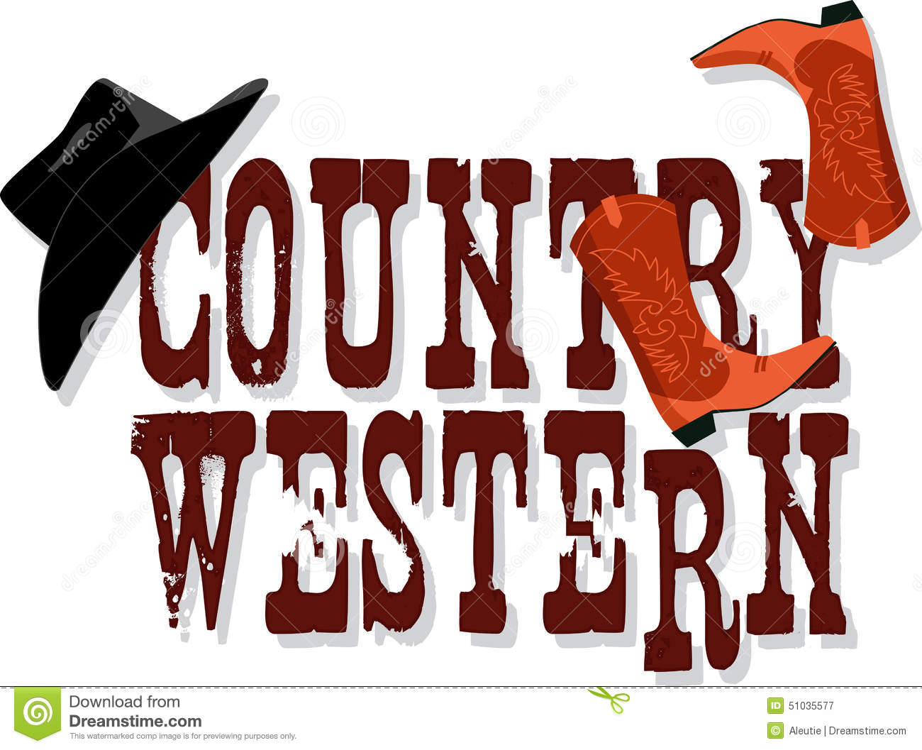 Country Western banner with Stetson hat and cowboy boots, vector ...