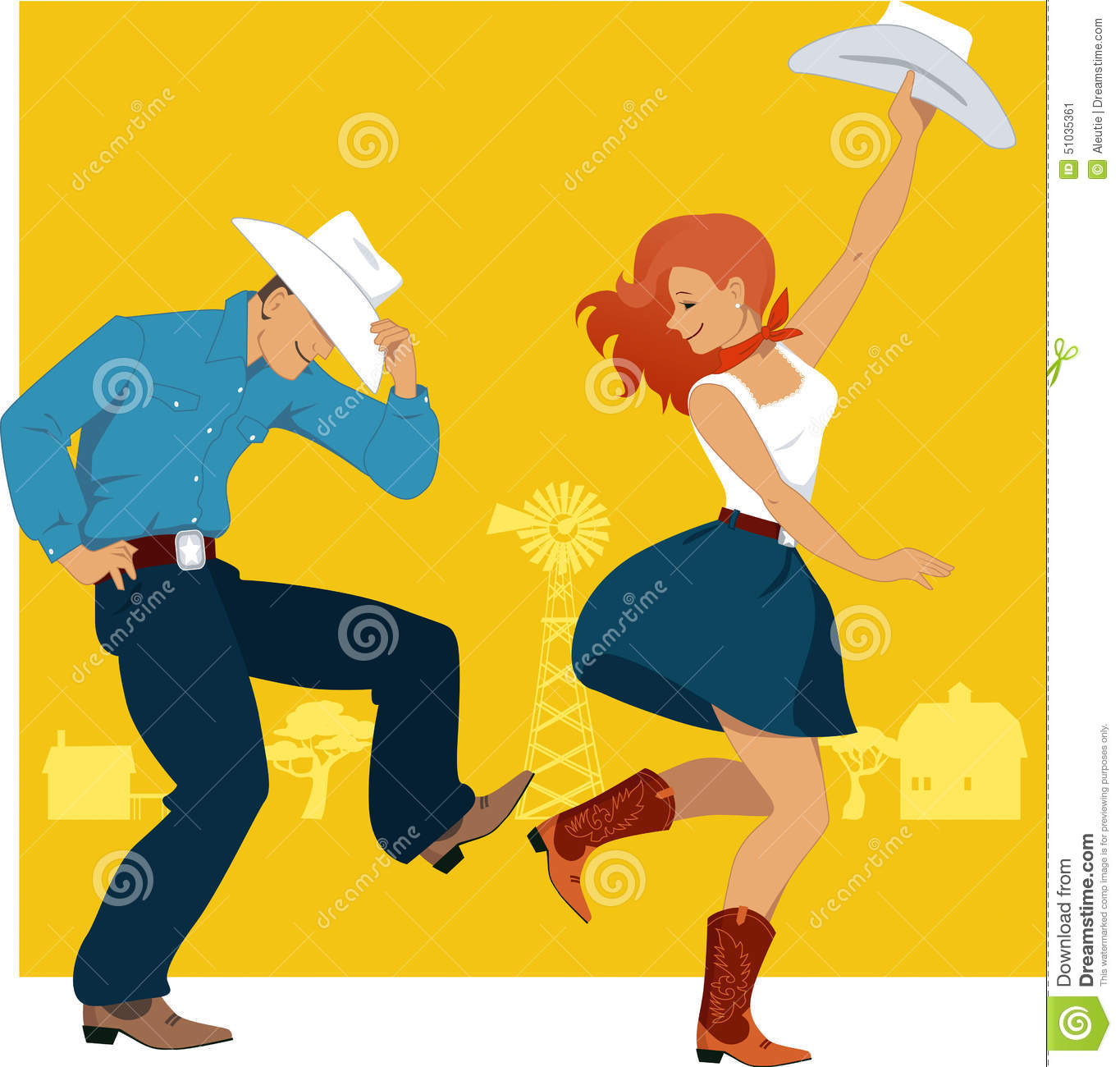 Country Western Dance Stock Vector Image Of Traditional