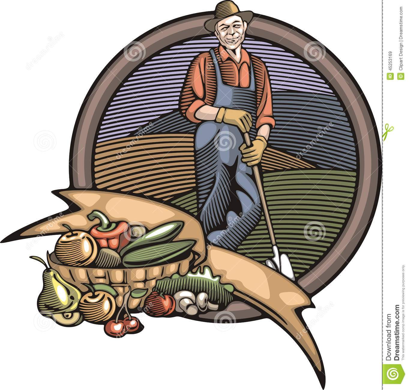 Countrylife and Farming Vector Illustration in Woodcut Style