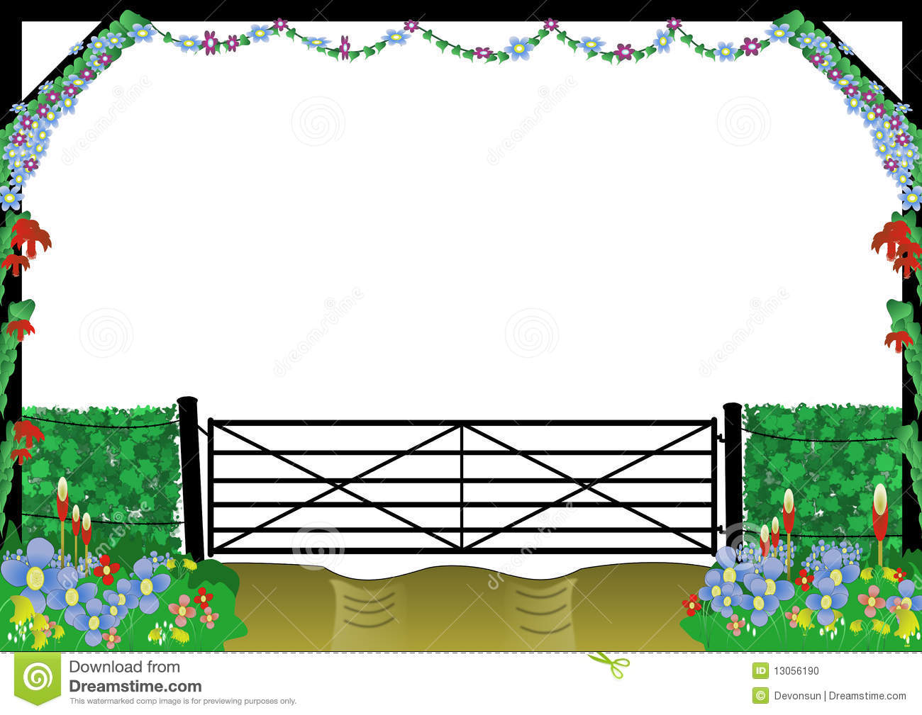 Countryside Farm Gate Border Stock Image