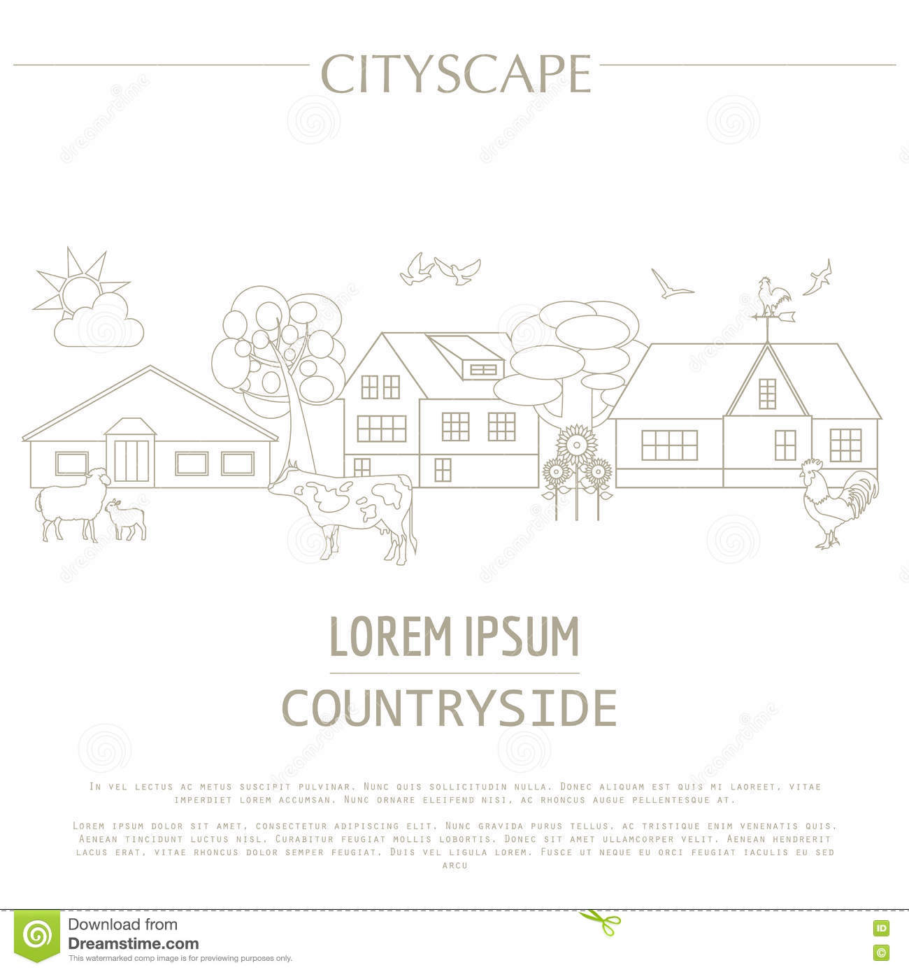 Countryside Graphic Template. Village Buildings, Rural Scene Stock ...