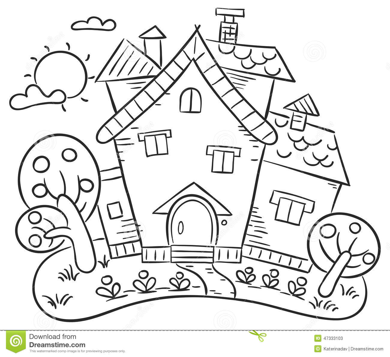 Tree coloring pages only coloring pages - Countryside House With A Garden Stock Vector Image 47333103