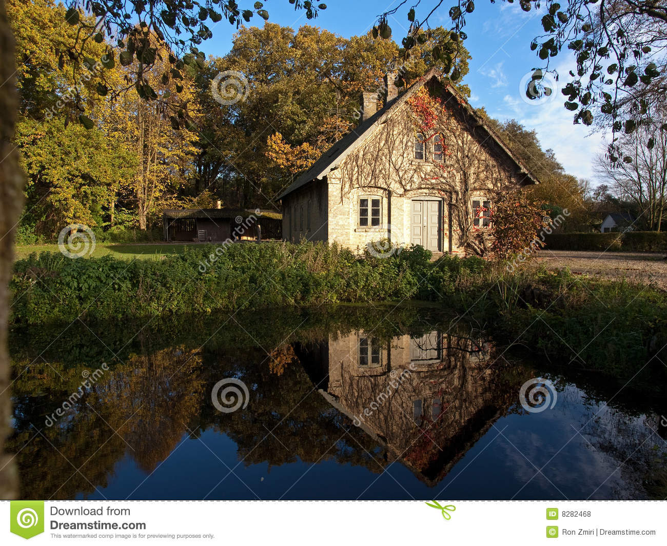 Countryside house by a small lake royalty free stock for Building a small lake