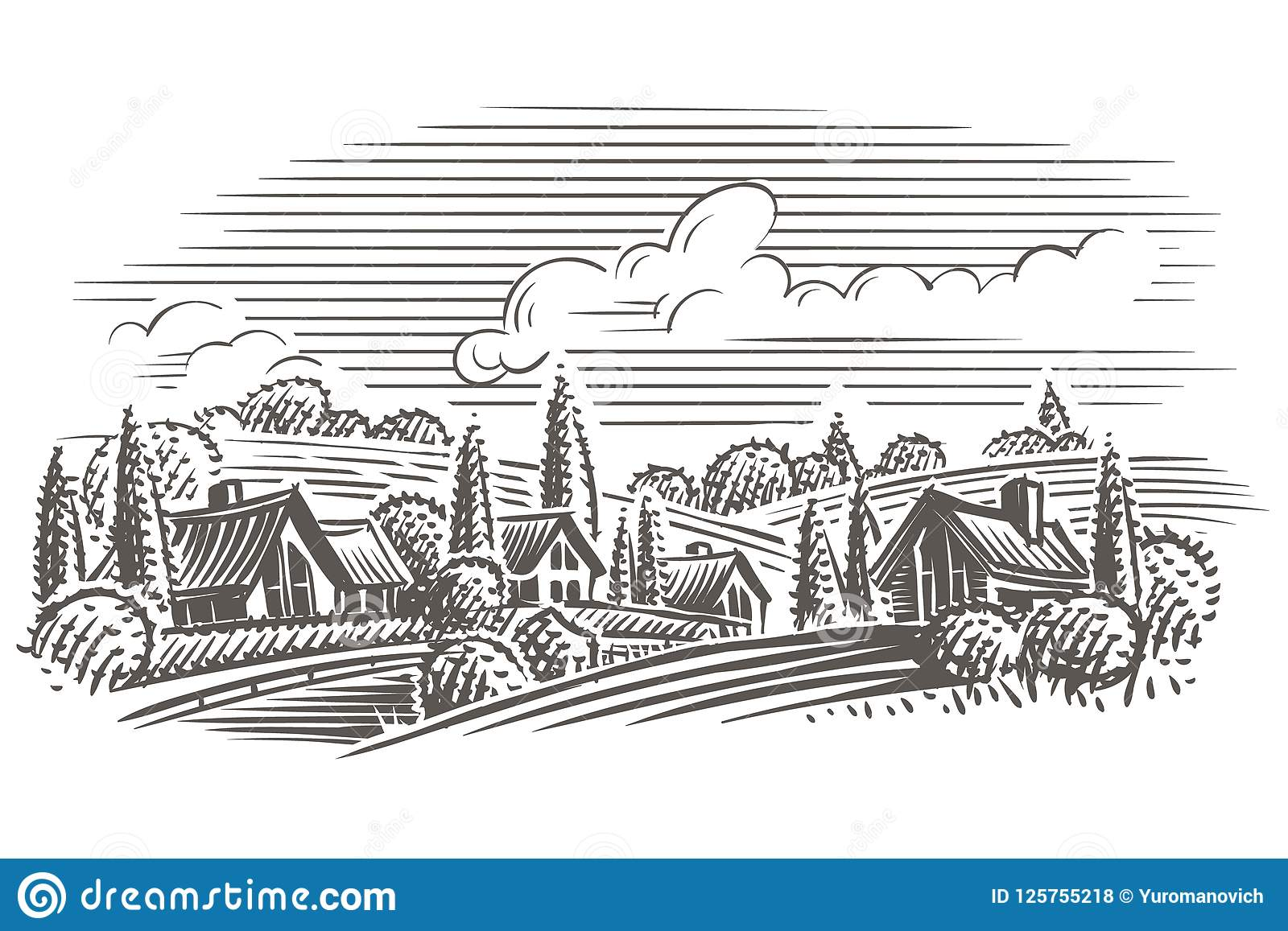 Countryside Landscape Engraving Style Illustration  Vector