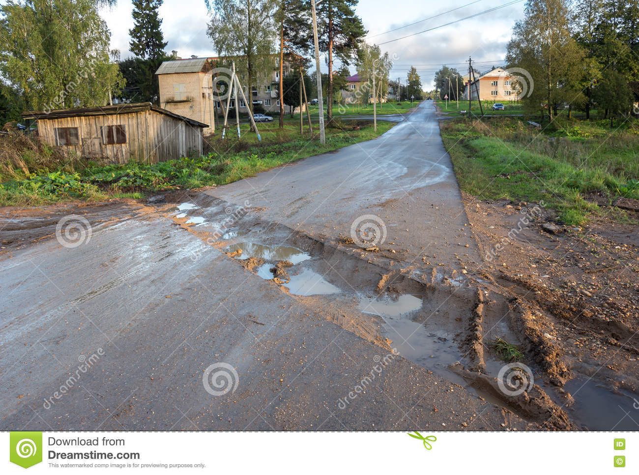 countryside road rut with puddles stock photo image of nature