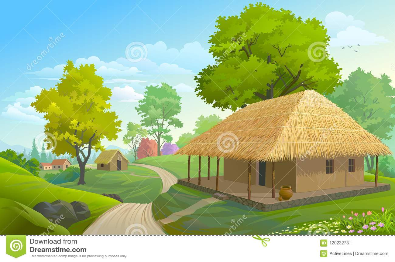Cartoon Farm Scene With Wooden House Background Royalty