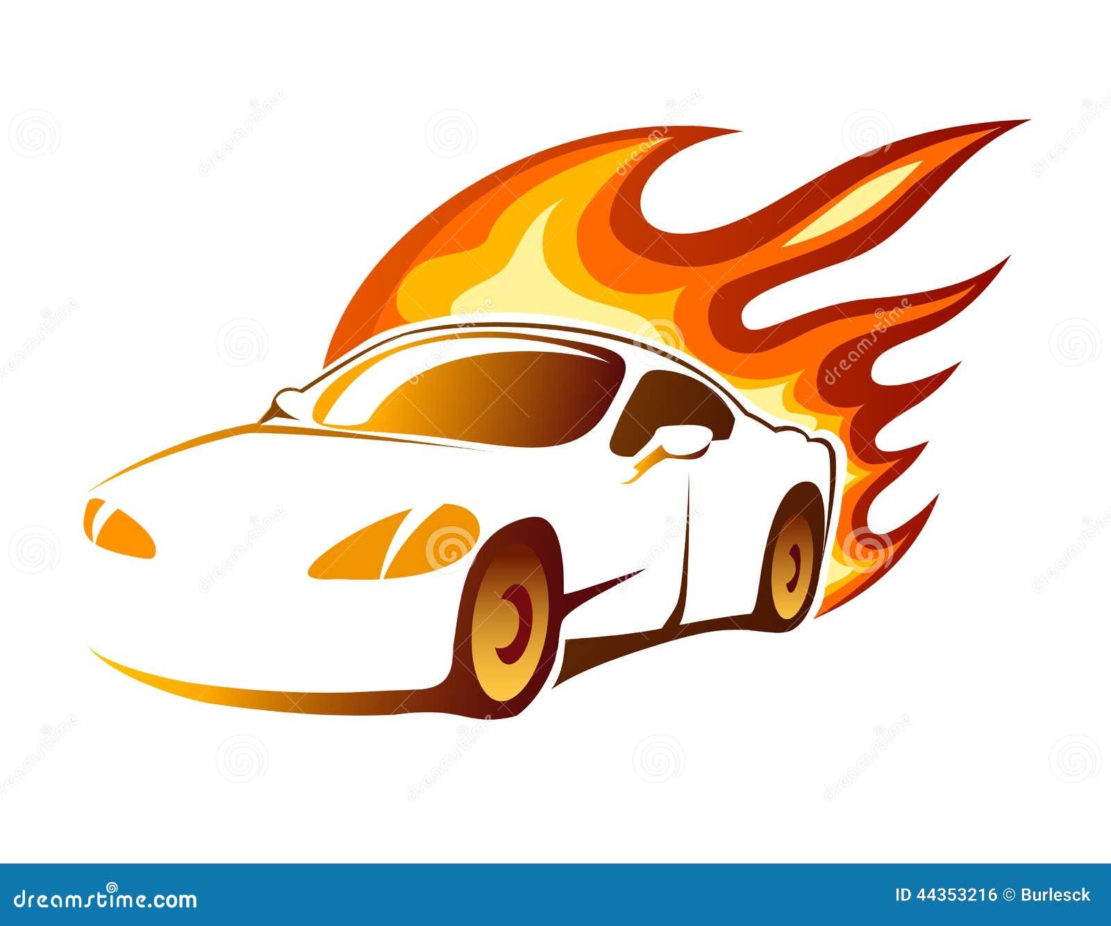Coupé sportivo di lusso moderno con le fiamme brucianti