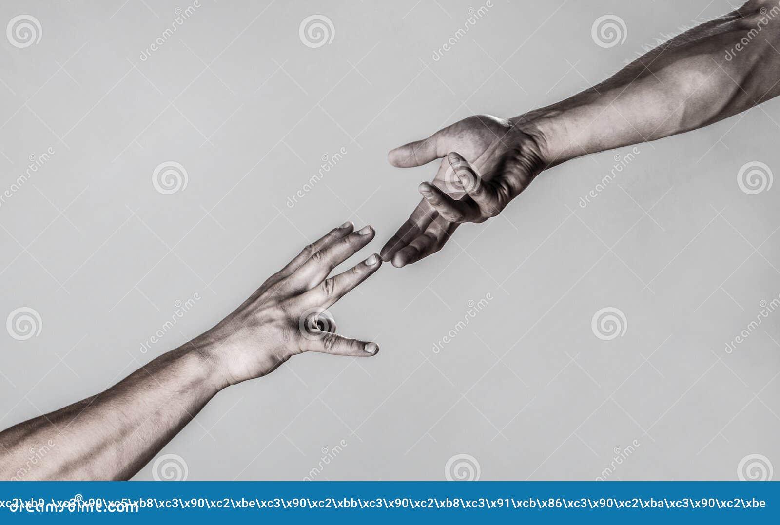 Coup de main tendu, bras d isolement, salut Main haute étroite d aide Deux mains, bras de aide d un ami, travail d équipe