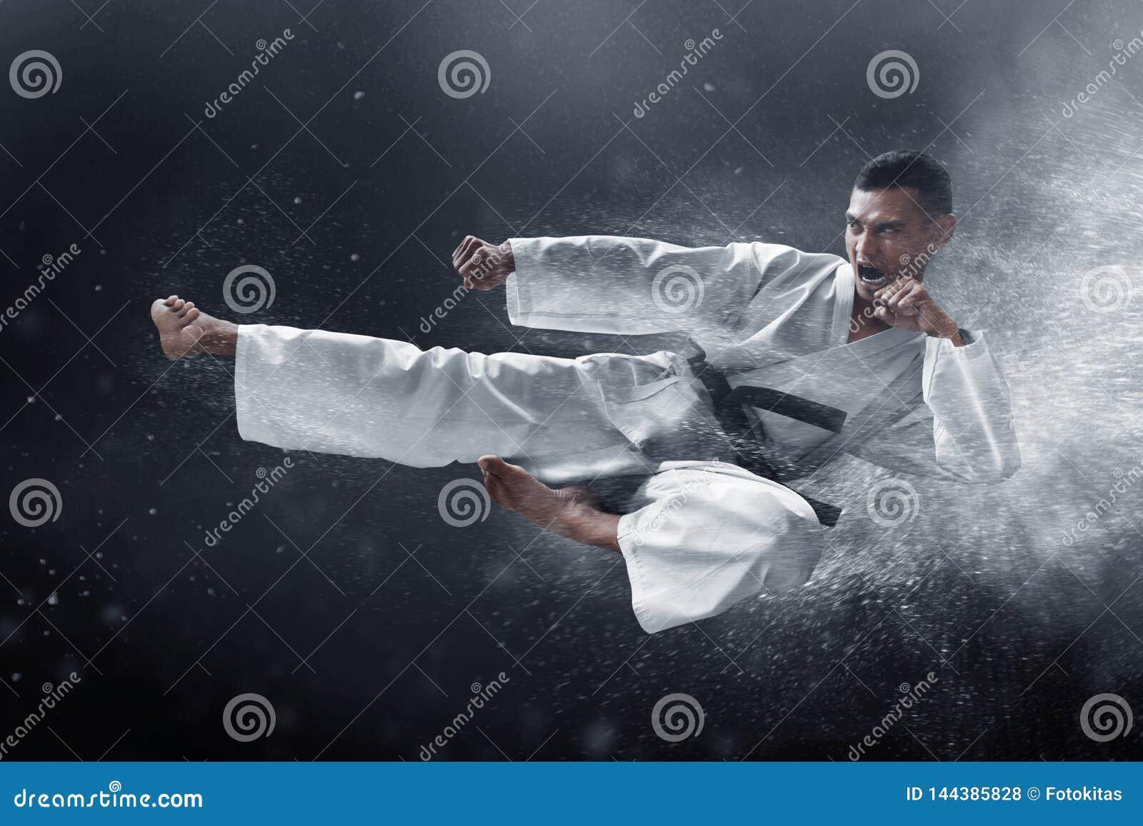 Coup-de-pied de saut de karaté d arts martiaux
