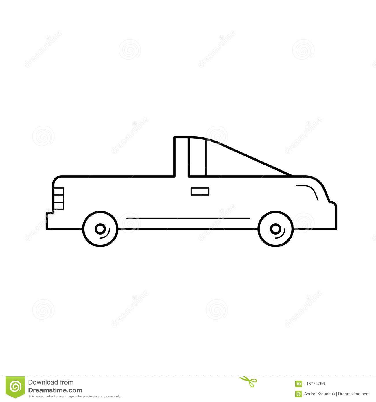 Coupe Car Line Icon Stock Vector Illustration Of Pickup