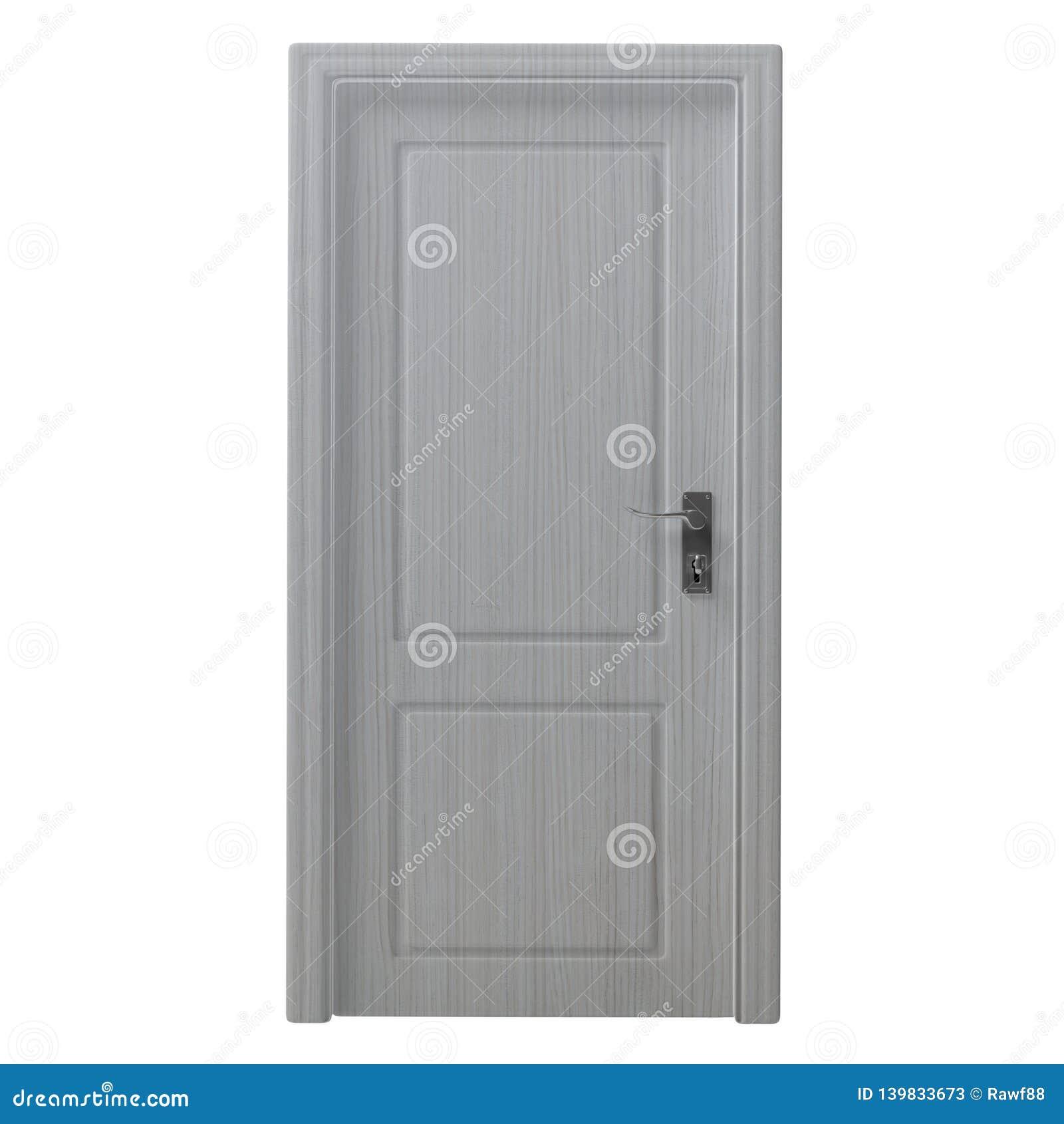 Coupe-circuit d isolement par porte fermée décoré en bois sur le fond blanc illustration 3D