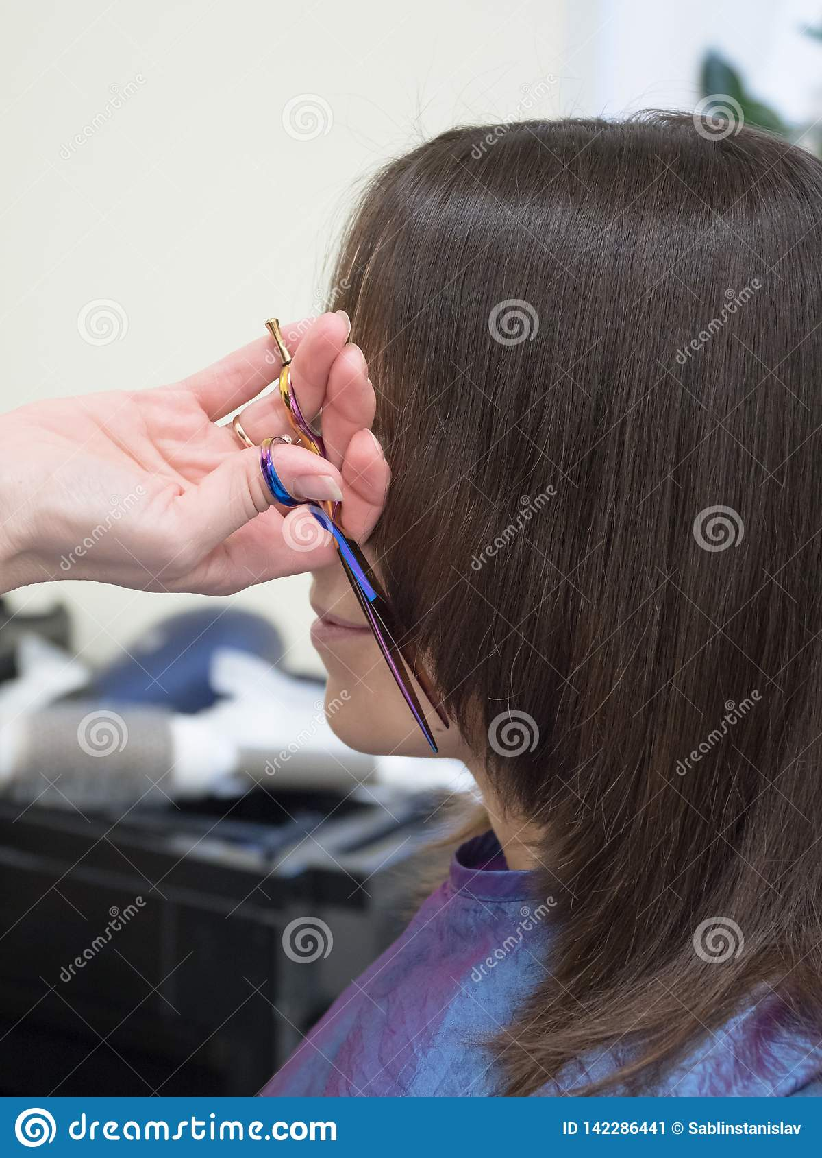 Coupe De Cheveux Pour Des Femmes La Technique De La Coupe Image Stock Image Du Coupe Femmes 142286441