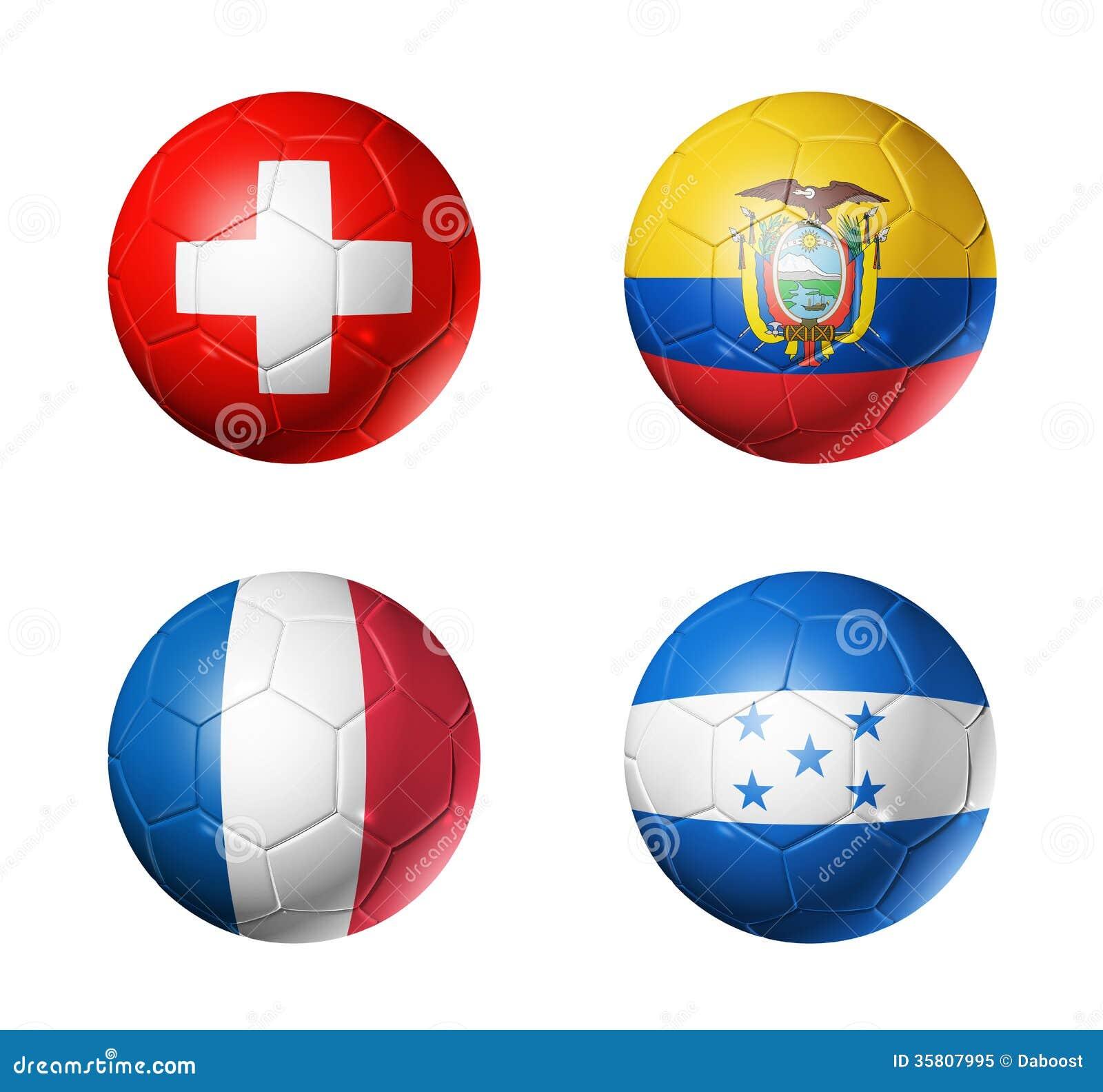 Coupe du monde du Brésil drapeaux de 2014 groupes E sur le ballon de football