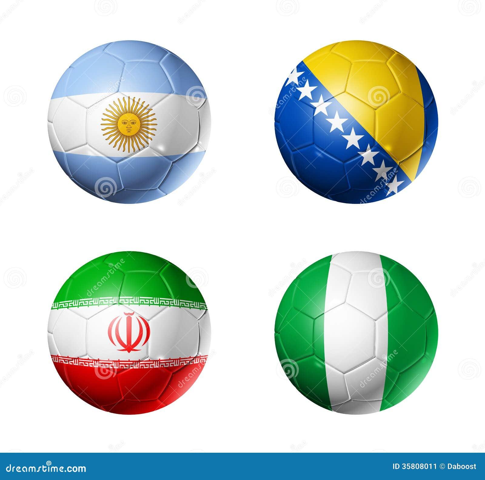 Coupe du monde du br sil drapeaux de 2014 groupes f sur le ballon de football image stock - Groupes coupe du monde 2014 ...