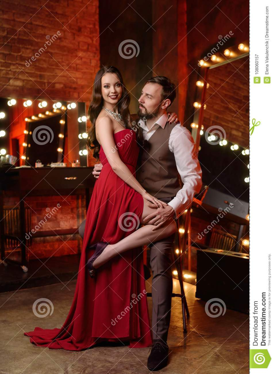 08f4ab7a4422 Couple Of Actors In Dressing Room Stock Image - Image of evening ...