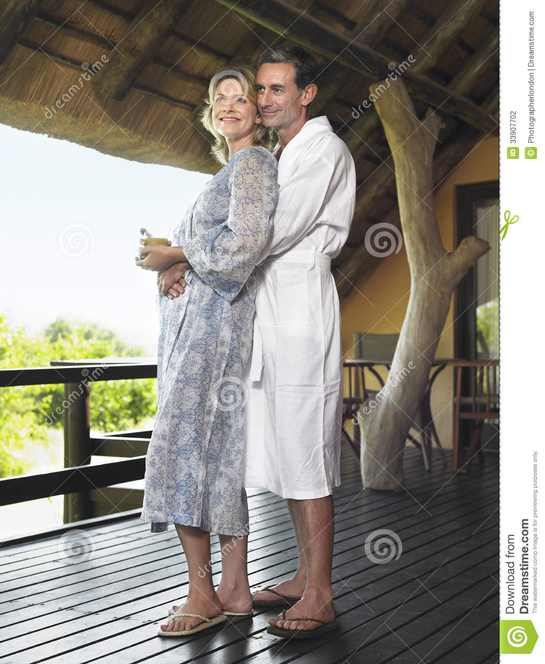 Couple In Bathrobes Embracing Stock Photo Image 33907702