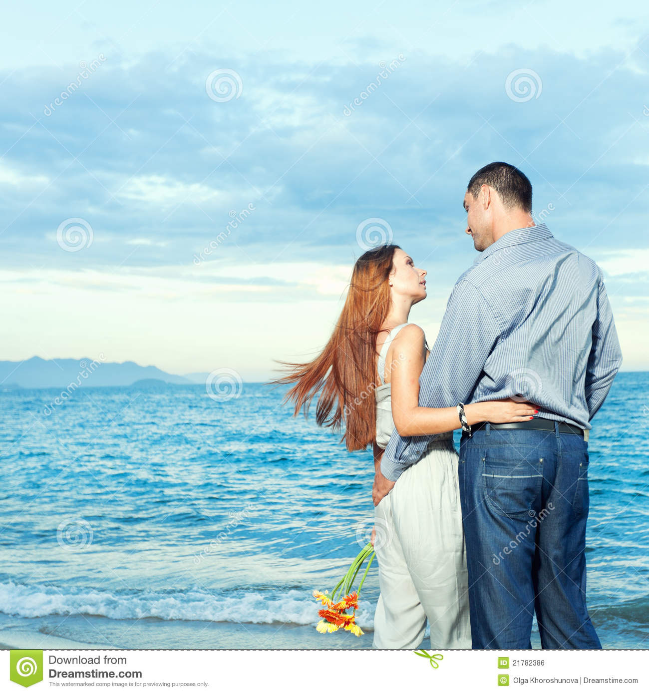 Couple On The Beach Stock Photo. Image Of Flowers, Back