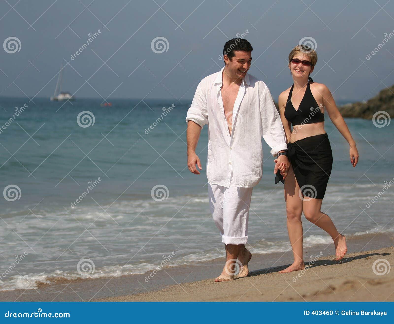 Couple On The Beach Stock Photo. Image Of Enjoying, Couple