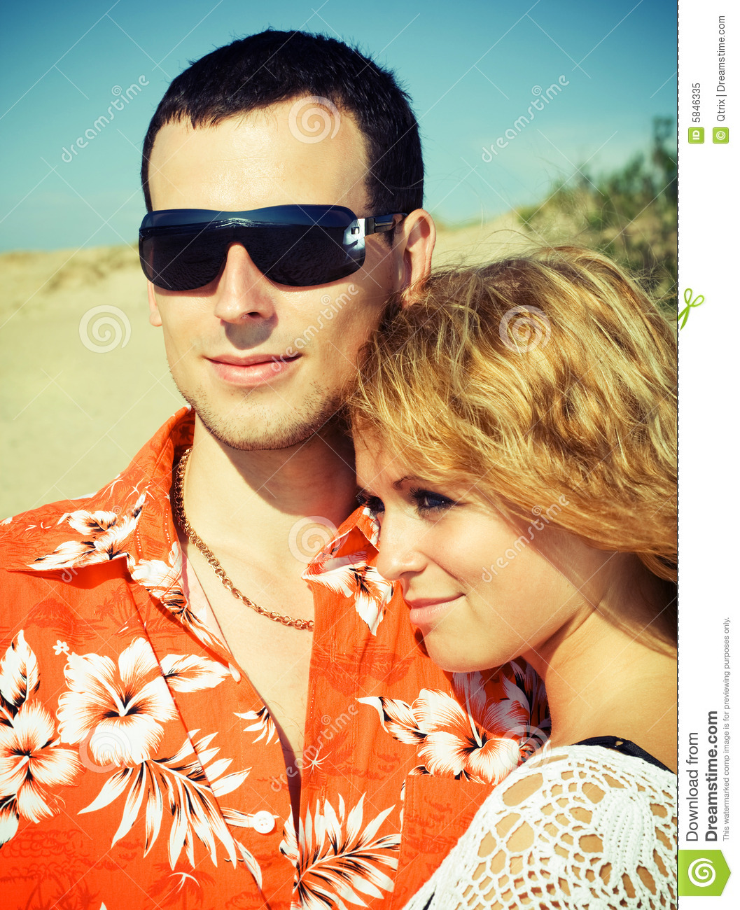Couple On The Beach. Stock Image. Image Of Outdoors