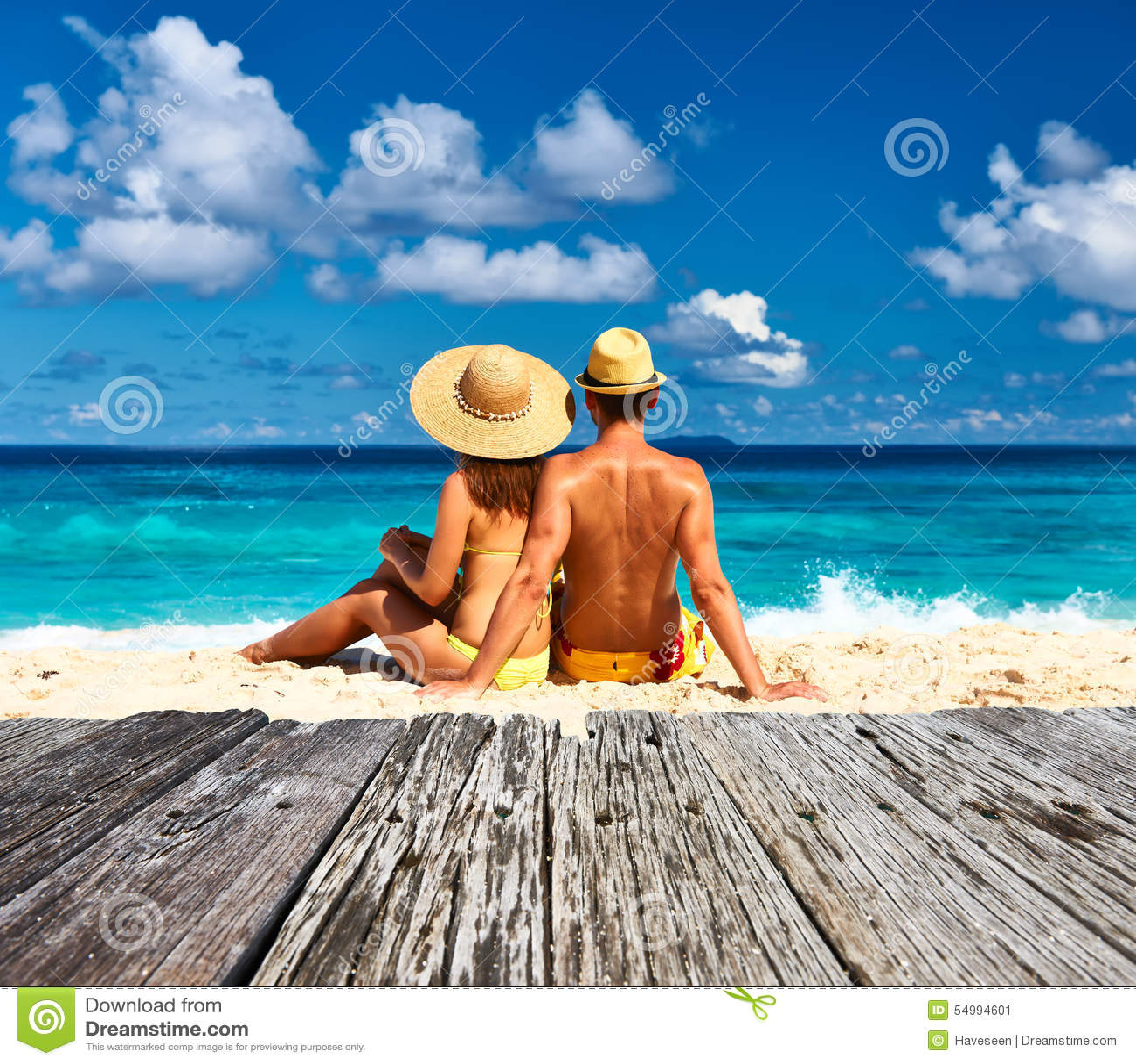 Seychelles Beach: Couple On A Beach At Seychelles Stock Image