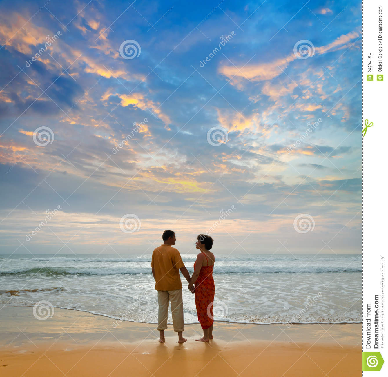 Couple At The Beach Stock Image Image Of Caucasian: Couple On The Beach At Sunset Stock Photo