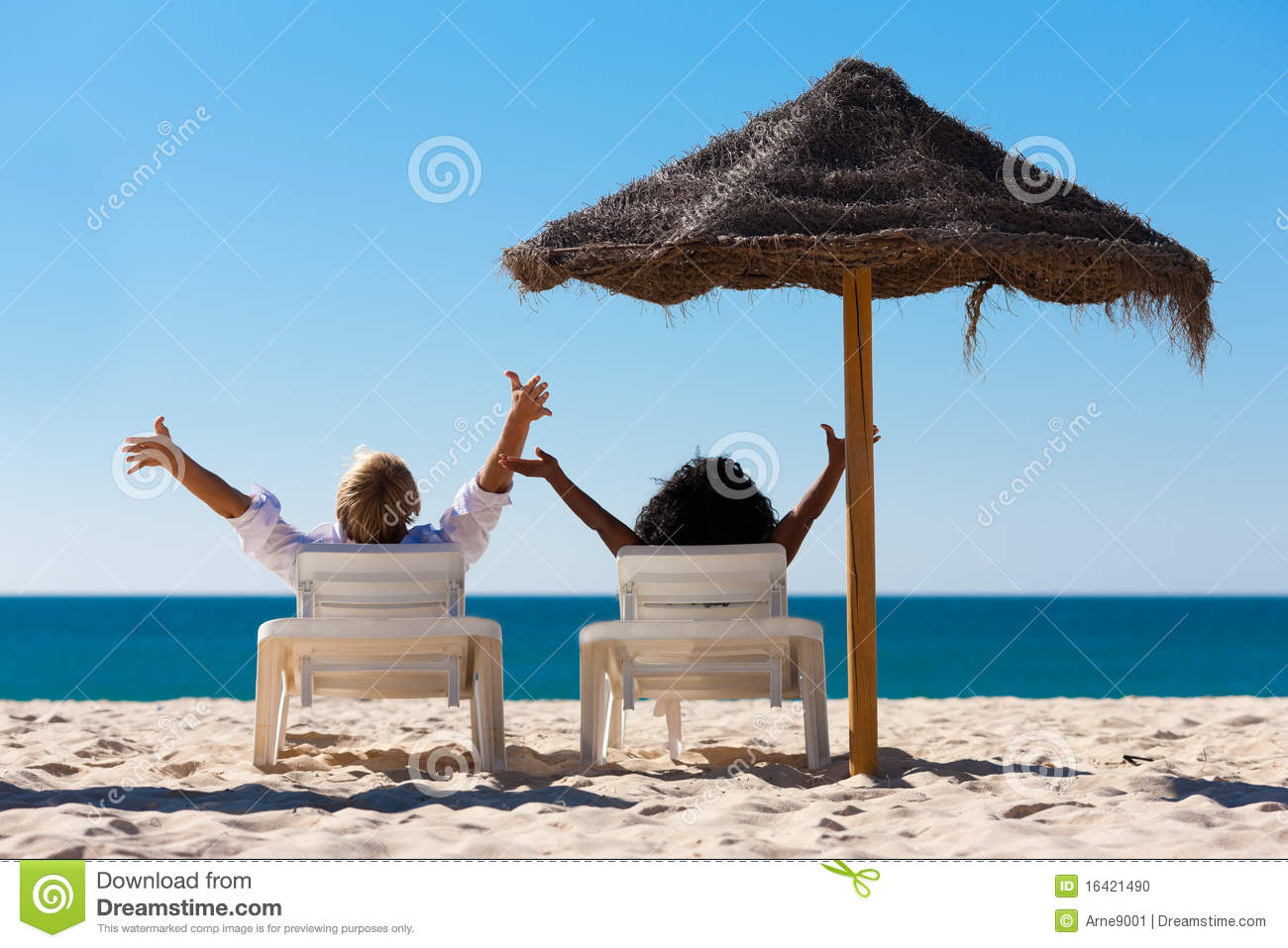 couple on beach vacation with sunshade stock photo image 16421490. Black Bedroom Furniture Sets. Home Design Ideas
