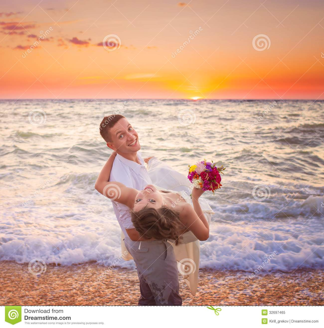 Couple At The Beach Stock Image Image Of Caucasian: Couple On The Beach Stock Image. Image Of Marriage