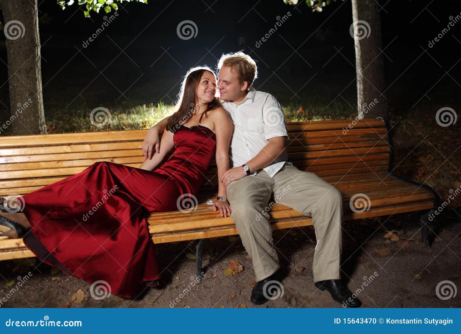 Couple on bench stock photo. Image of lifestyle, flirt ...