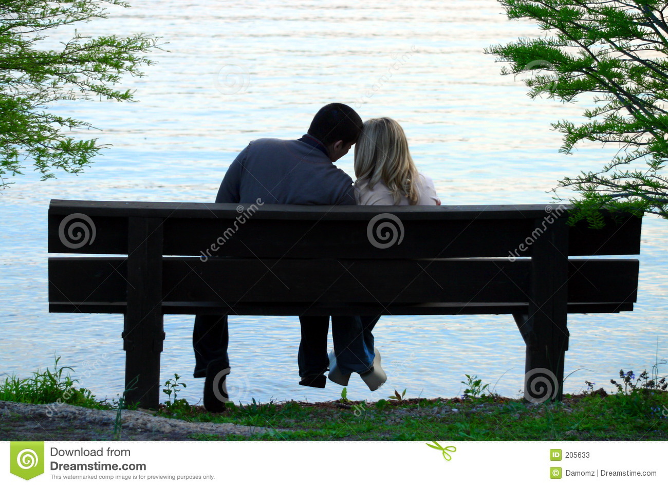 Couple On A Bench Stock Image Image Of Trees Loving