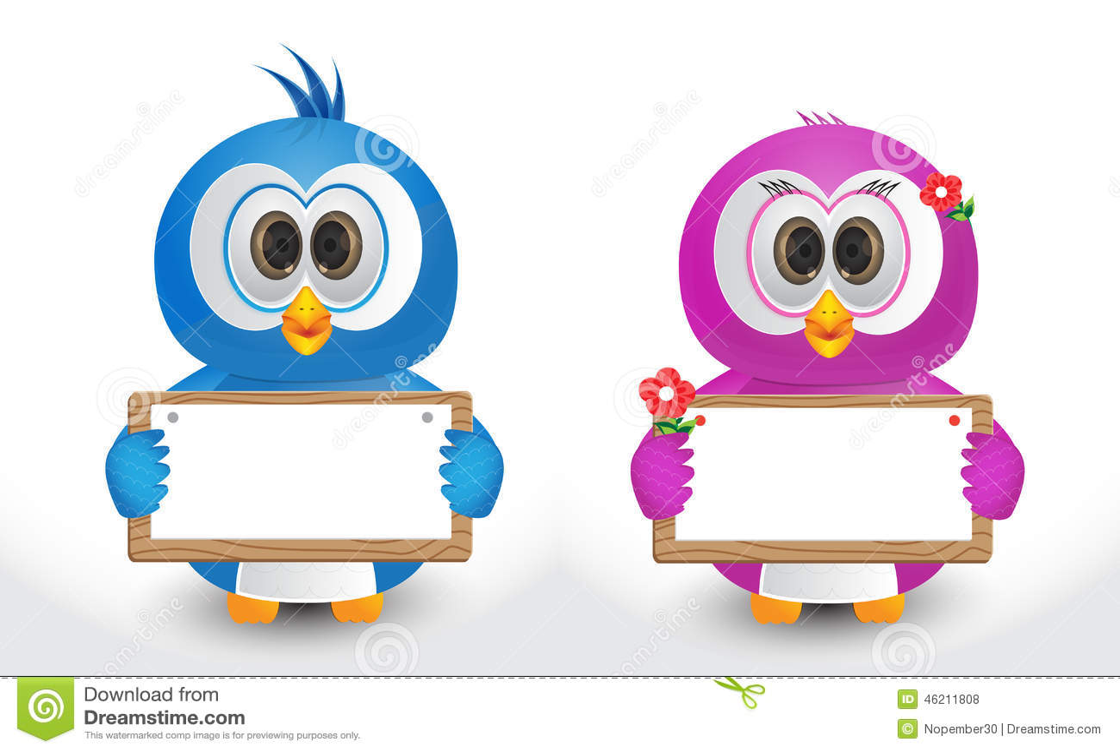 Couple Bird Holding Text Box Stock Vector - Image: 46211808