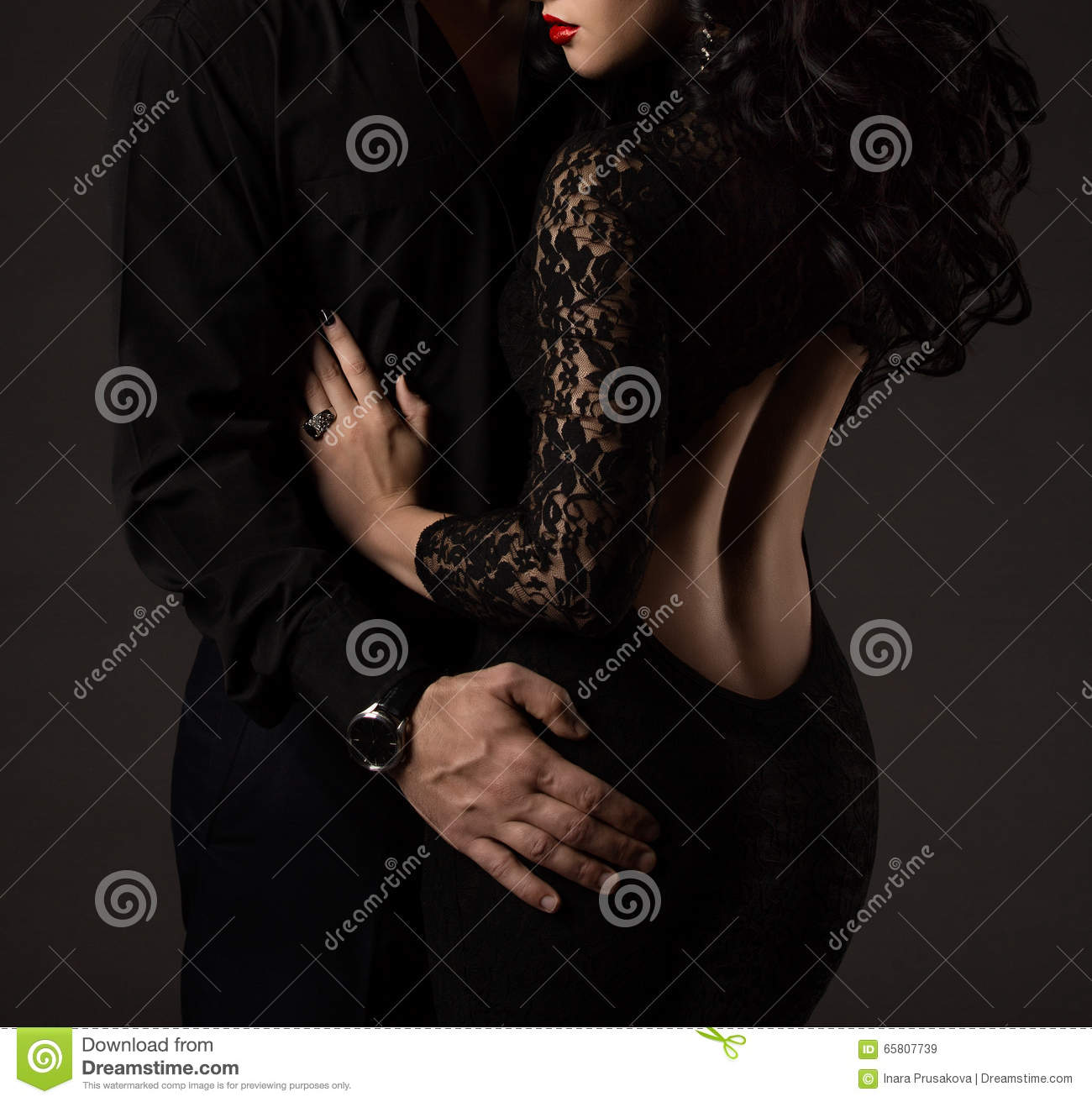 Couple in Black, Woman Man no Faces, Lady Lace Dress