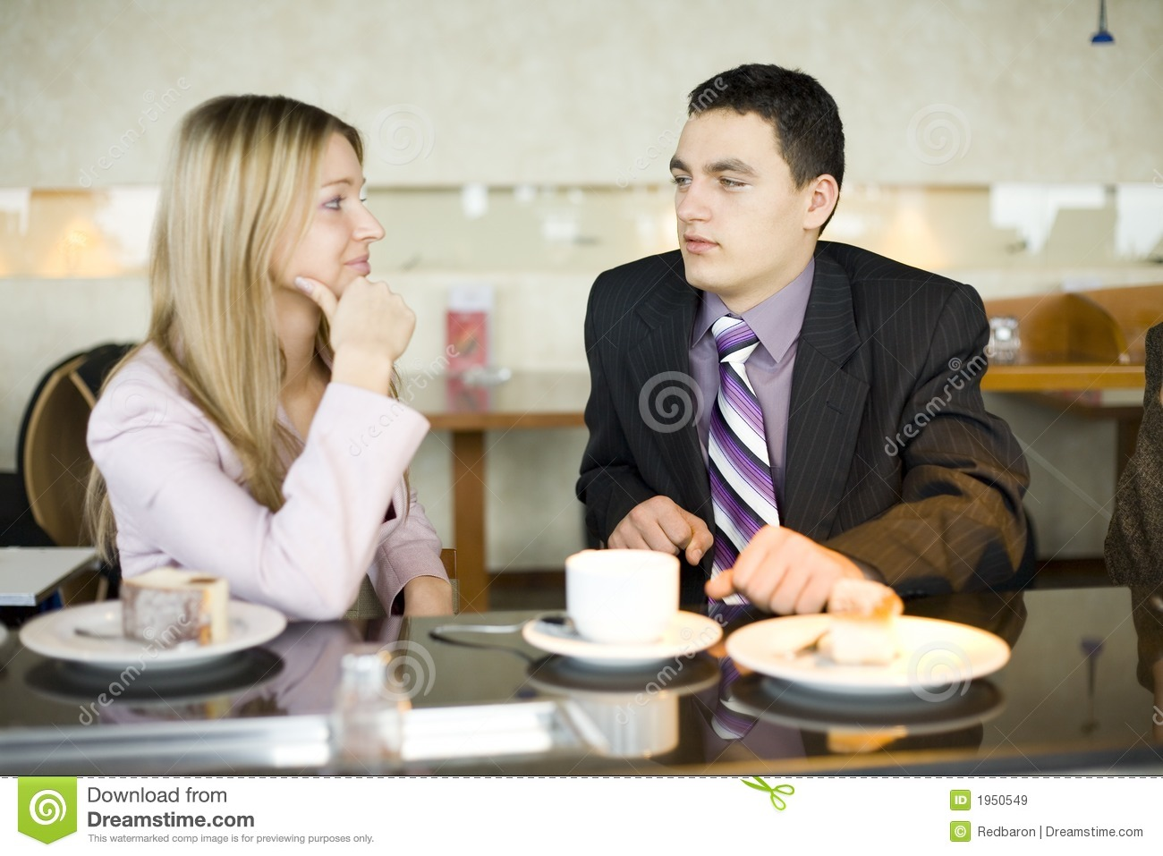 Couple Of Business People At Coffee Break Stock Image ...