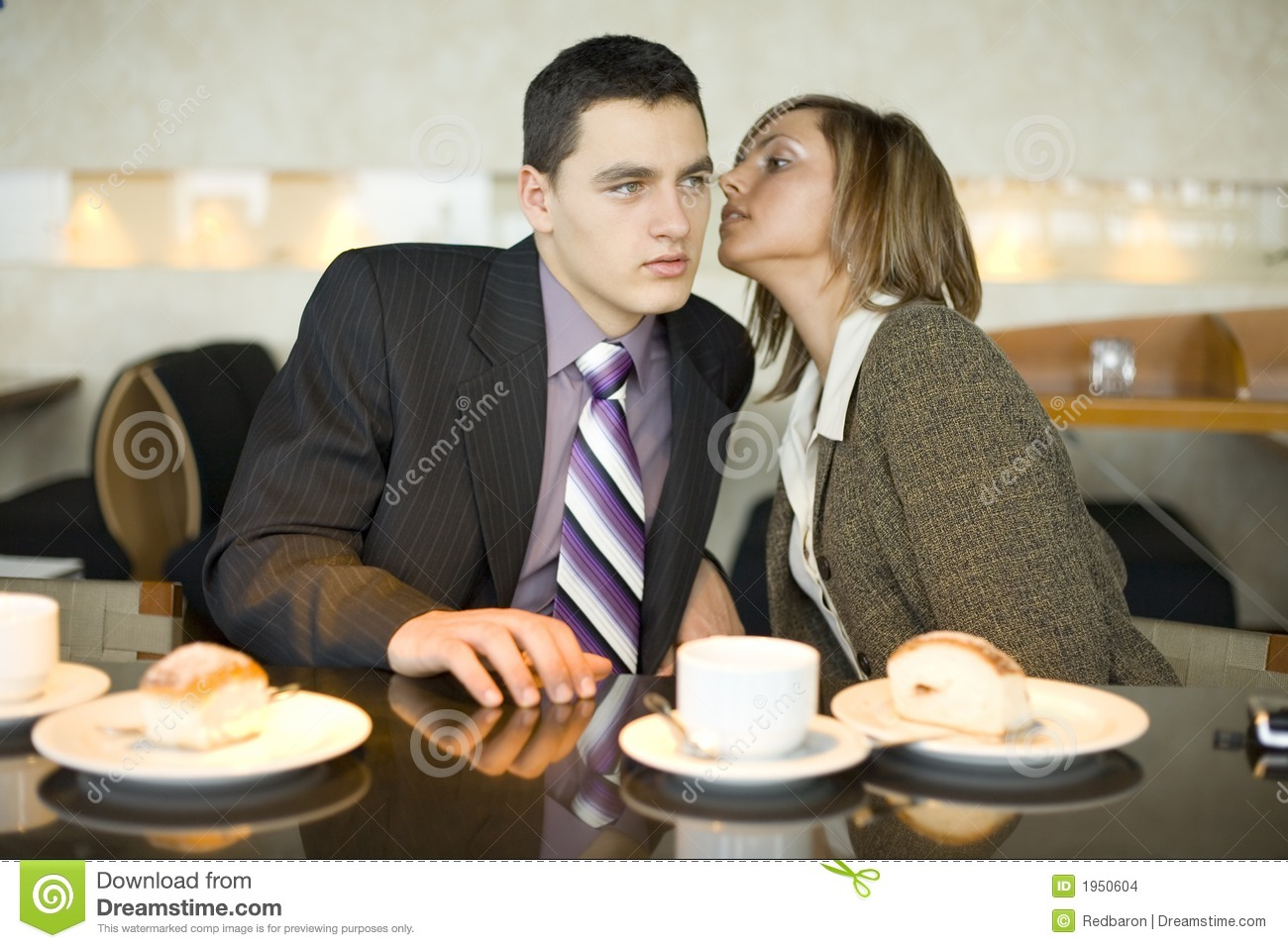 Couple Of Business People At Coffee Break - Whispering ...
