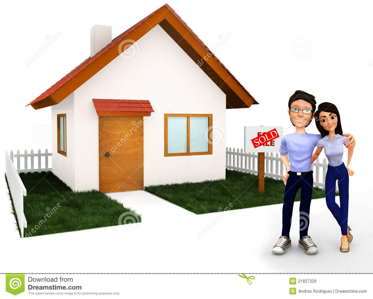 couple buying a house stock illustration illustration of couple 21827329. Black Bedroom Furniture Sets. Home Design Ideas