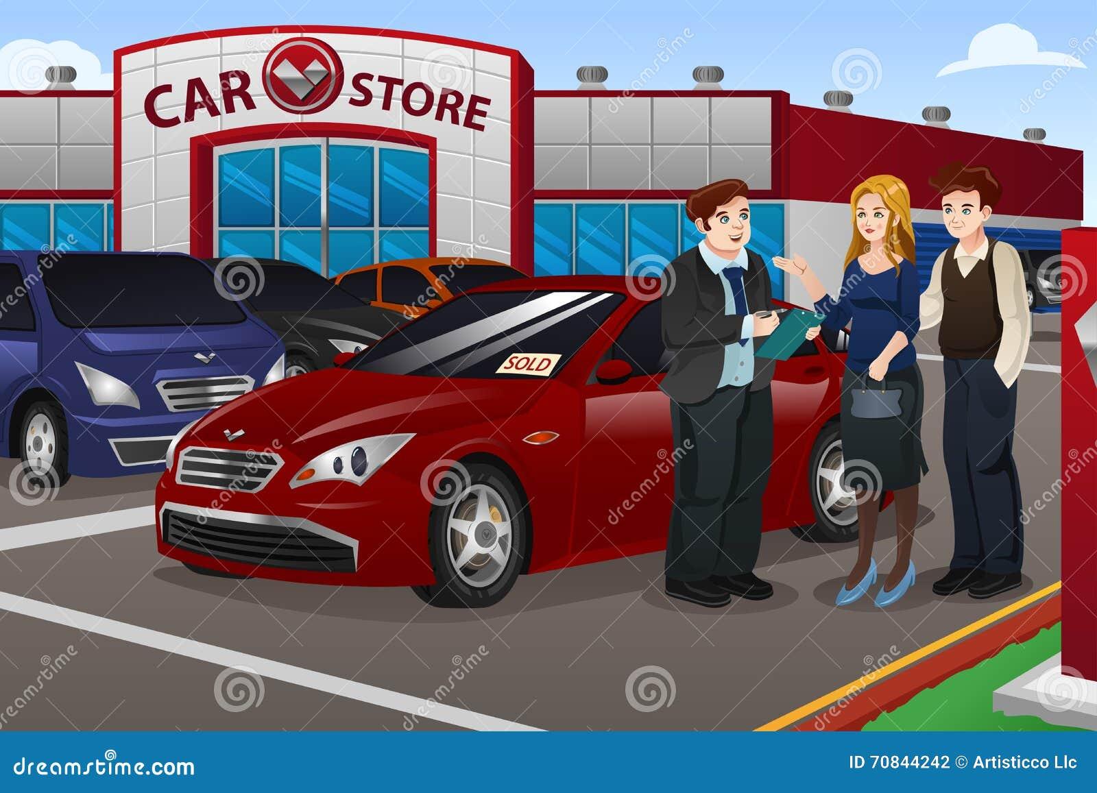 couple buying new car stock illustration image 70844242. Black Bedroom Furniture Sets. Home Design Ideas