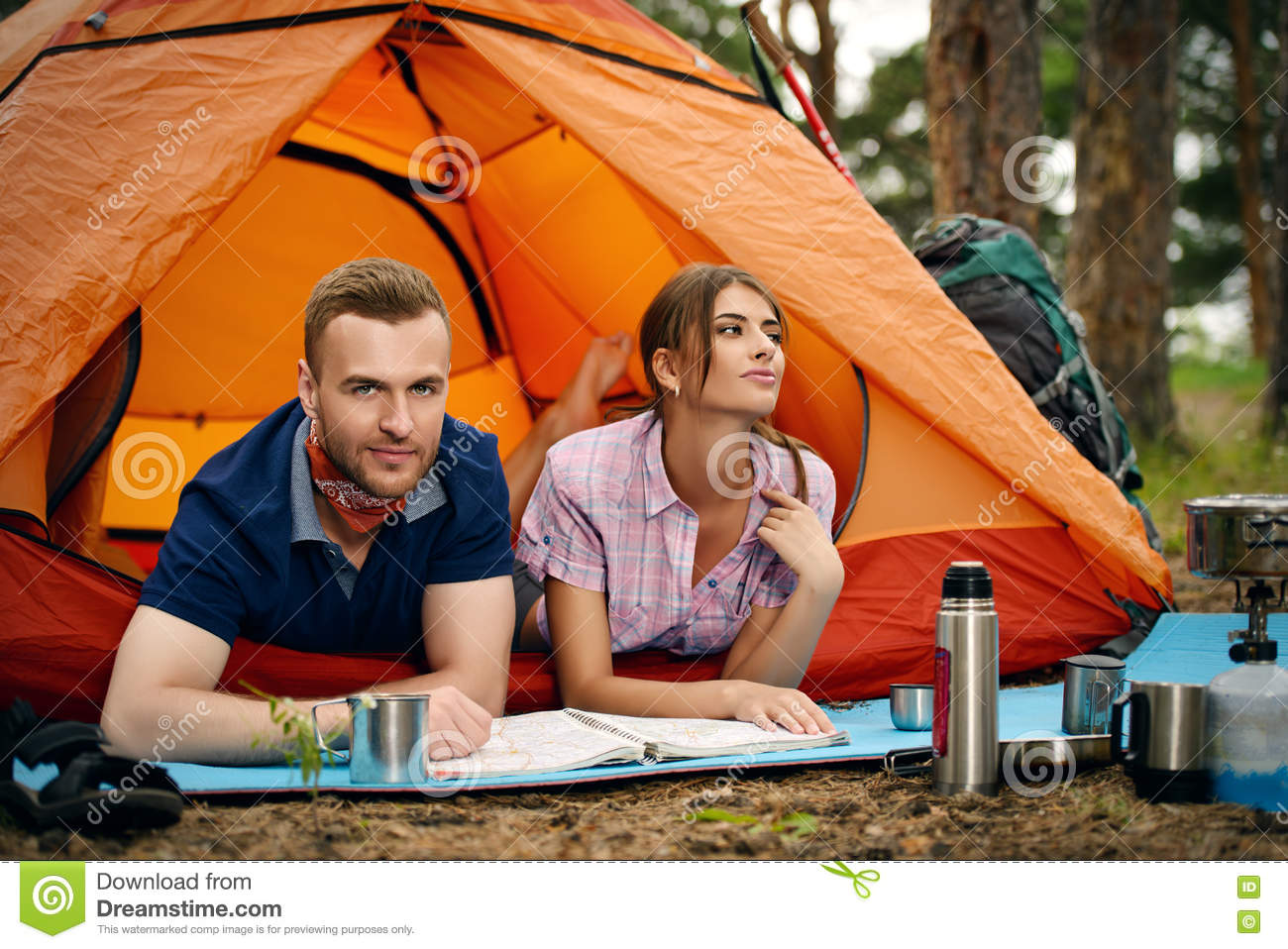 Couple in camping