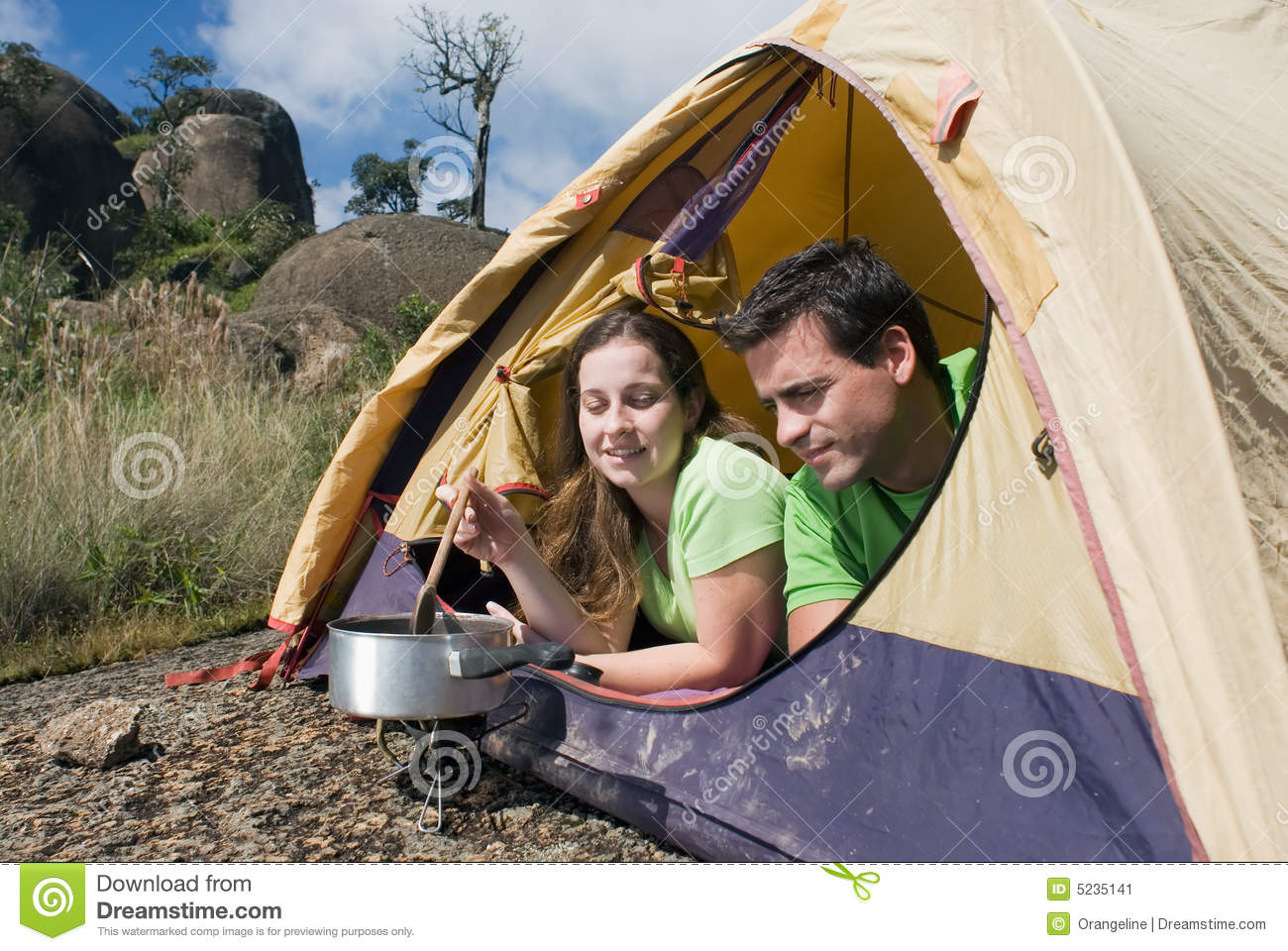 Royalty-Free Stock Photo  sc 1 st  Dreamstime.com & Couple Camping In Tent Cooking Stock Image - Image: 5235141