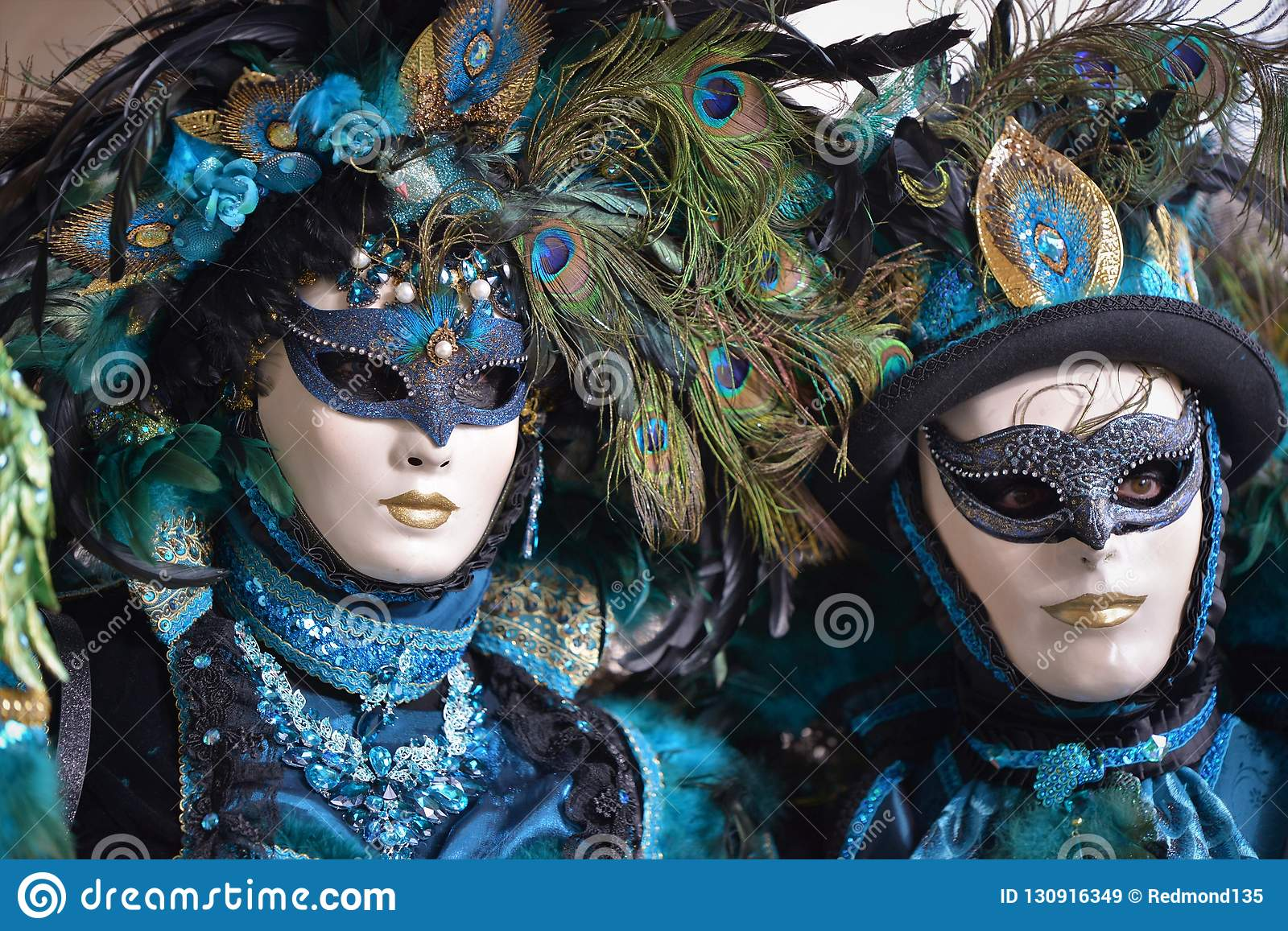 Couple In Carnival Costumes, Venice, Italy Editorial Stock
