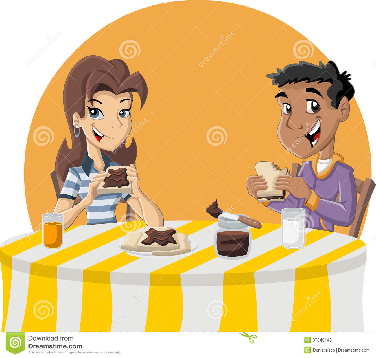 Couple of cartoon teenagers eating toast with chocolate nut paste for ...