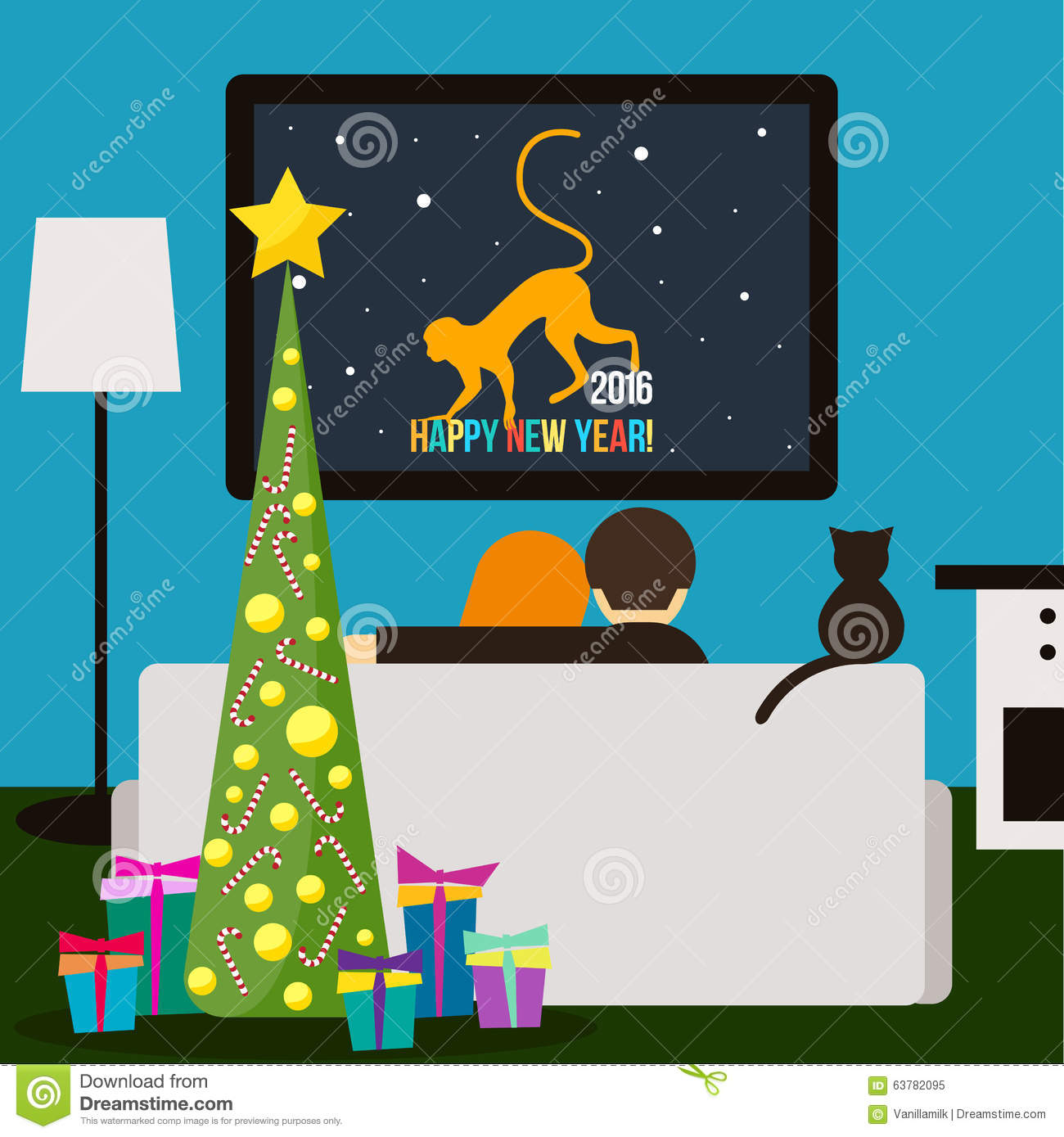 Couple And Cat Watching Television Happy New Year Theme