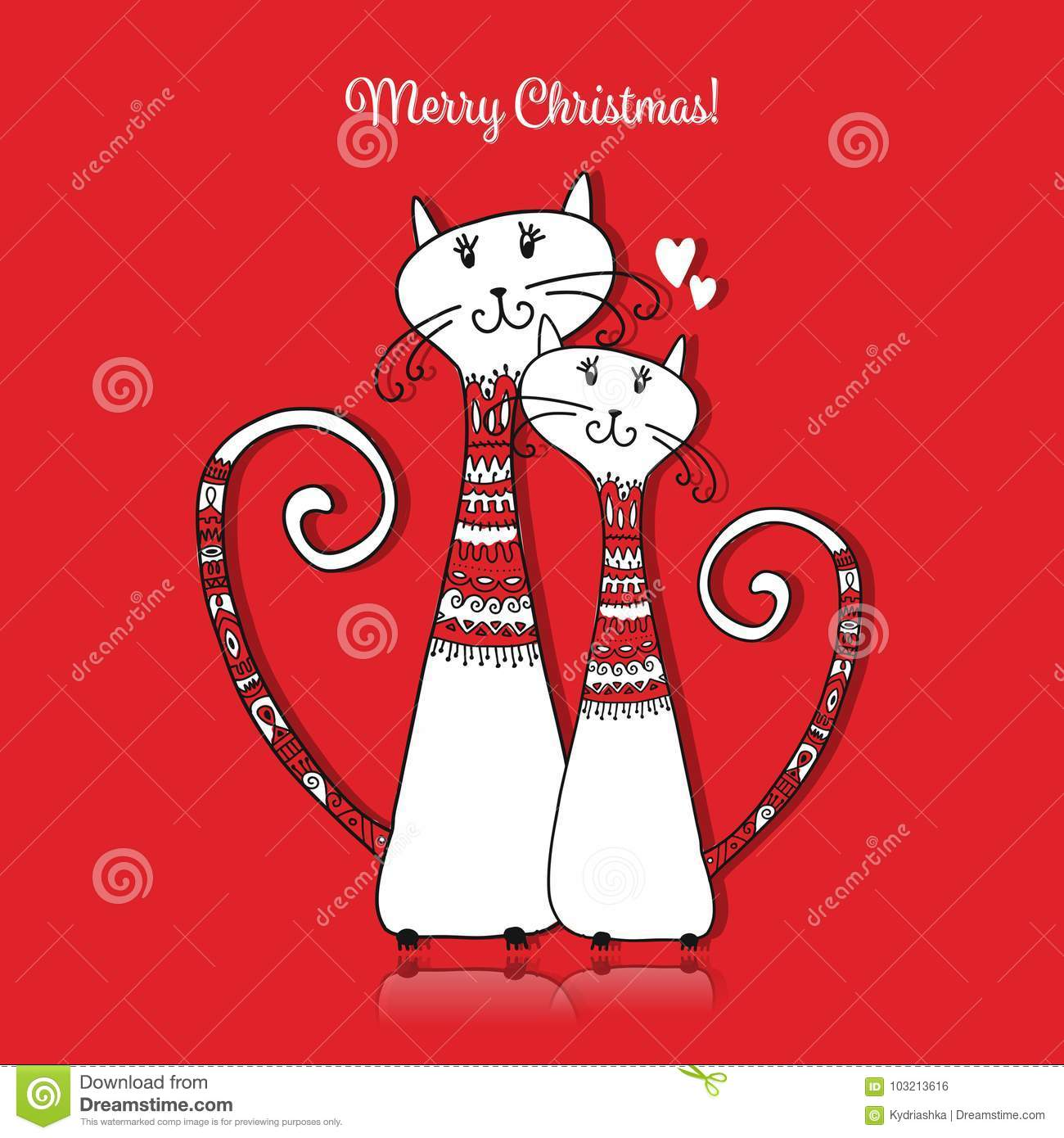 Couple Of Cats In Cozy Sweaters. Christmas Card Design Stock Vector ...