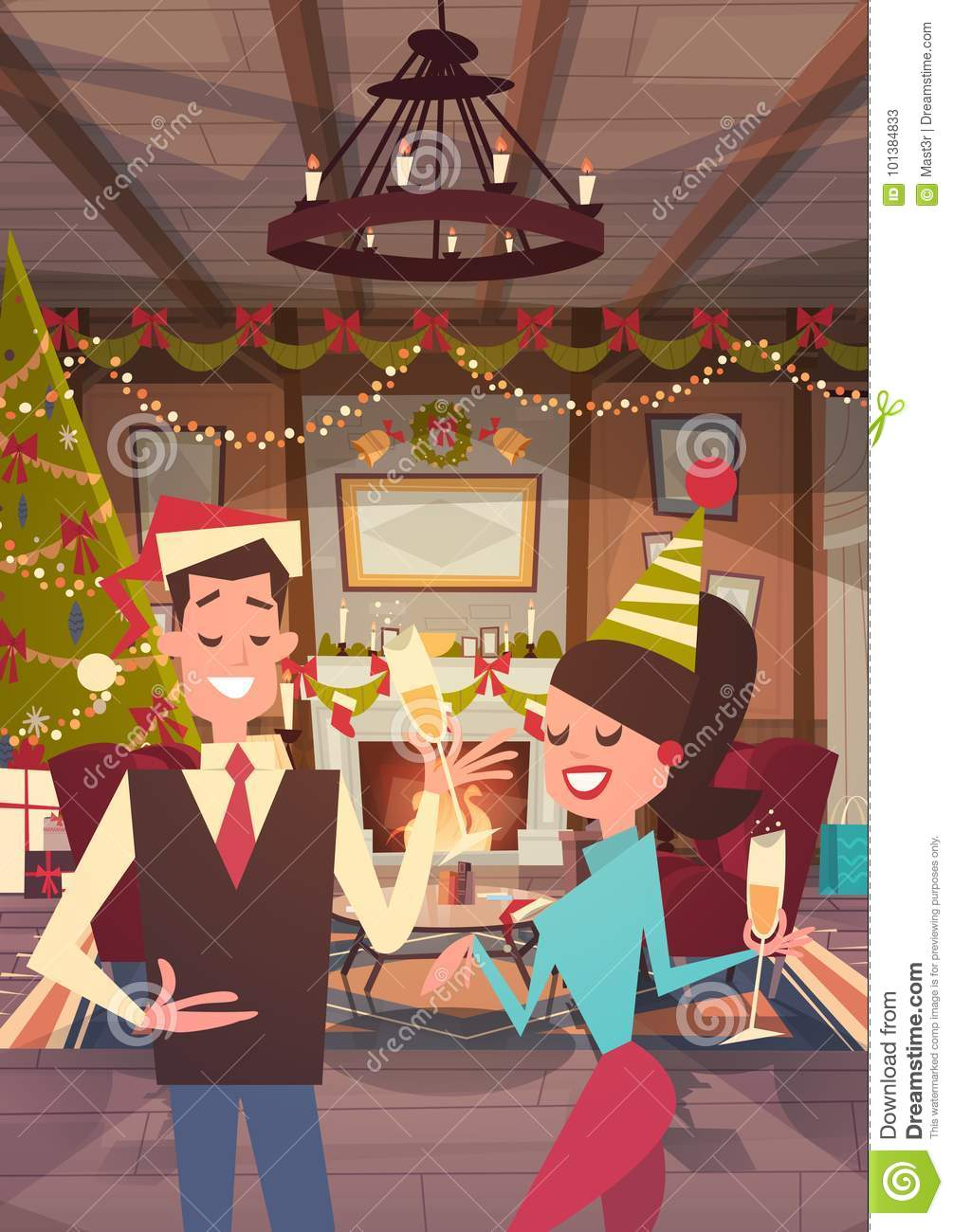 Couple Celebrate Merry Christmas And Happy New Year At Home Man And Woman Wear Santa Hats Drink Champagne Holiday Eve