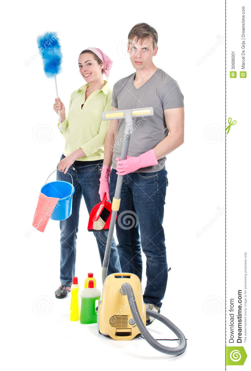 Couple cleaning the house stock image image 30686001 for House cleaning stock photos