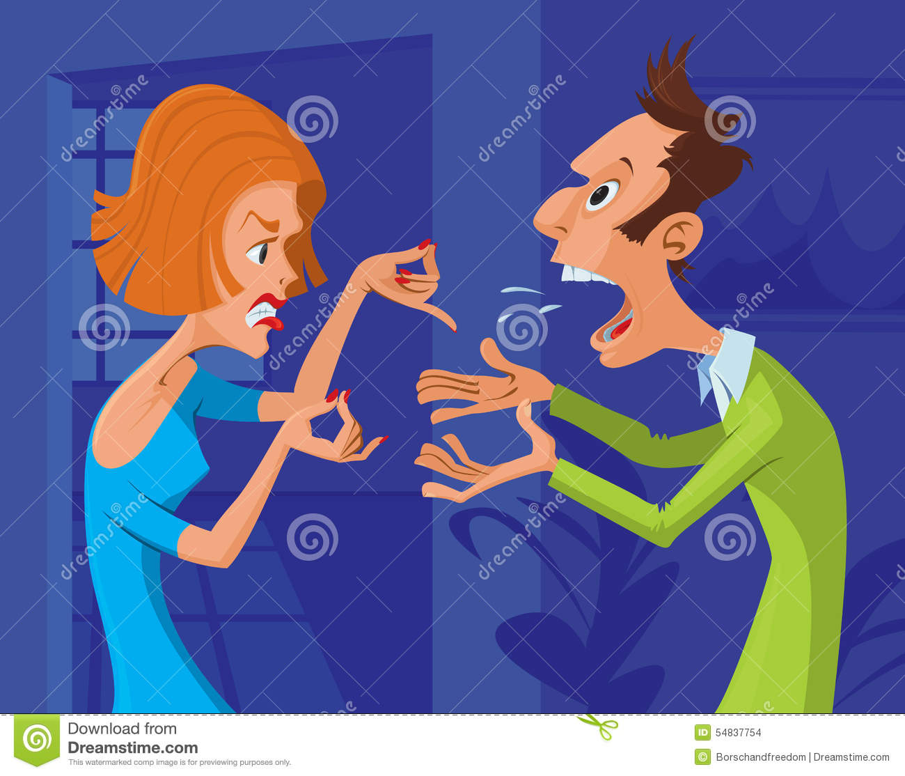 couple conflict stock vector illustration of aggressive
