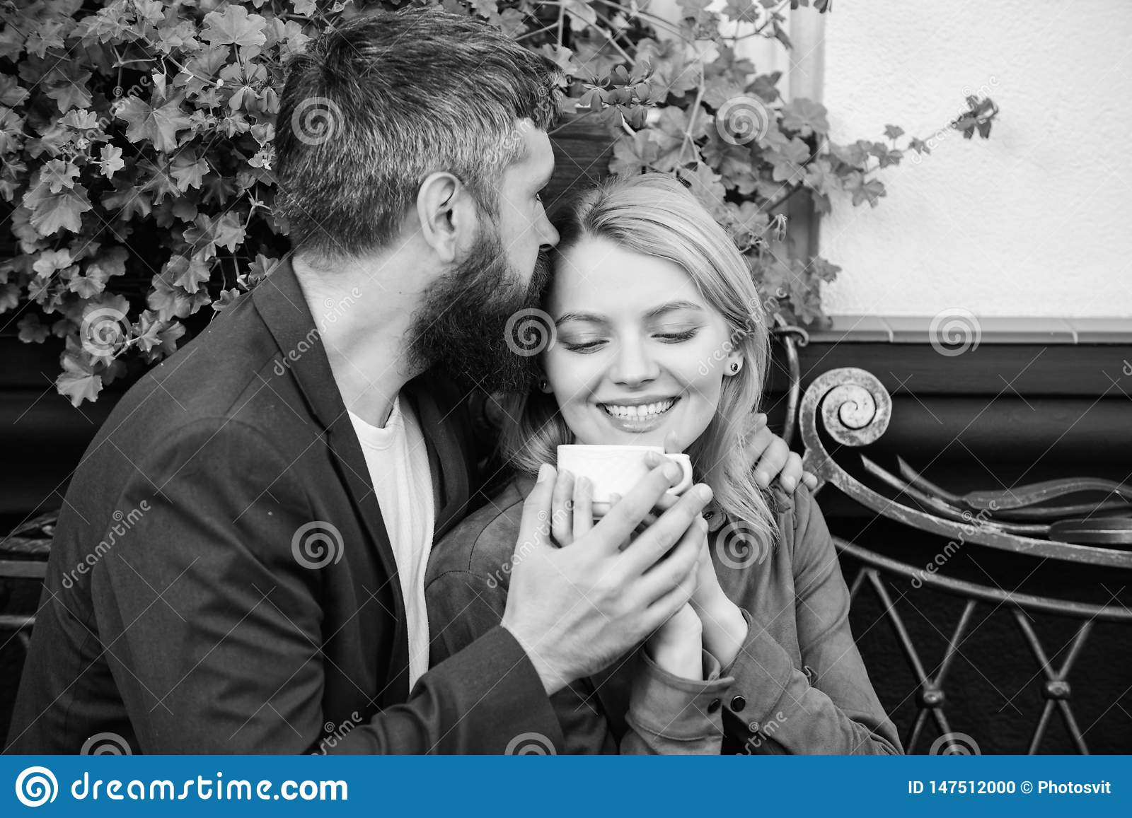 Couple Cuddling Cafe Terrace Couple In Love Sit Cafe Terrace Enjoy Coffee Pleasant Family Weekend Explore Cafe And Stock Photo Image Of Happiness Lovely 147512000