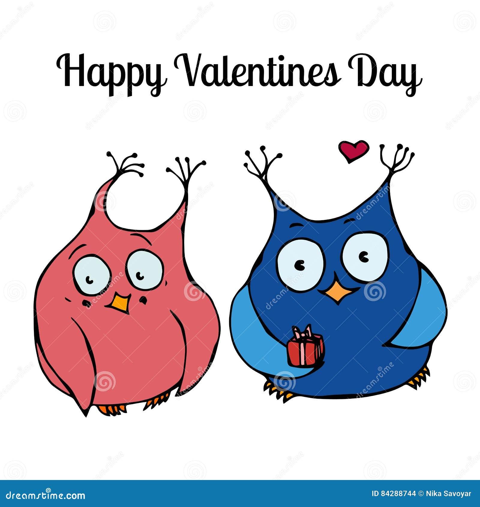 Couple of Cute Owls, Love Card Design. Vector Illustration