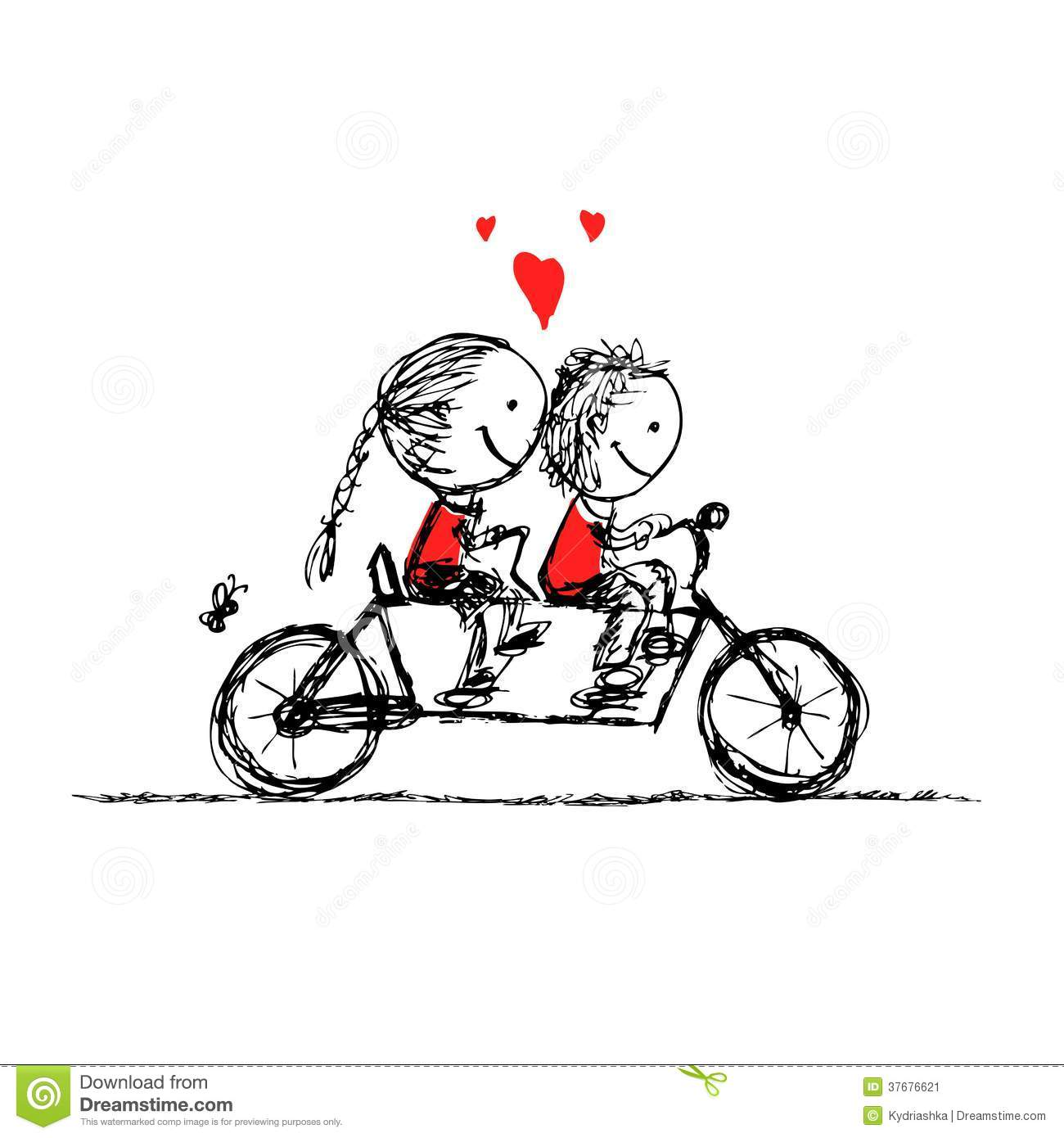 Couple Cycling Together Valentine Sketch For Your Stock Vector